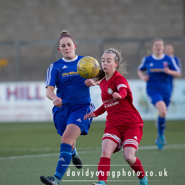 Danni McGinley battles for the ball - Forfar Farmington v Jeanfield Girls in SWPL2 at Station Park, Forfar<br /> <br />  - &copy; David Young - www.davidyoungphoto.co.uk - email: davidyoungphoto@gmail.com