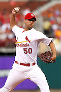 29 June 2010: St. Louis Cardinals starting pitcher Adam Wainwright (50) shows the motion on his pitch during the fourth inning against the Arizona Diamondbacks at Busch Stadium in St. Louis, Missouri.