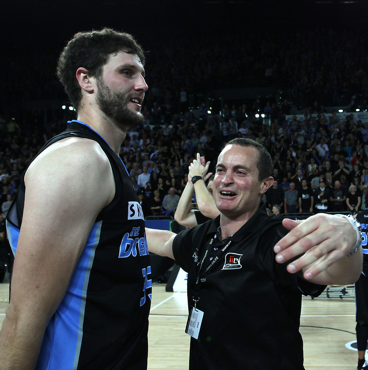 Breakers CEO Richard Clarke congratulates Breakers' Alex Pledger on defeating the Wildcats in the 3rd and deciding grand final match of the ANBL Basketball Championship, Vector Arena, Auckland, New Zealand, Tuesday, April 24, 2012.  Credit:SNPA / David Rowland
