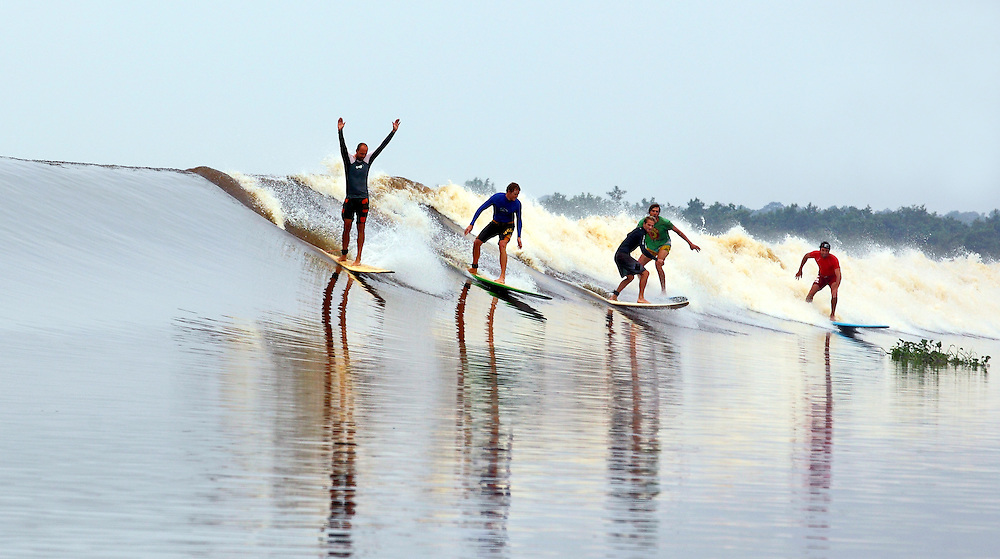 Surfing the Bono on the Kampar River in Sumatra.