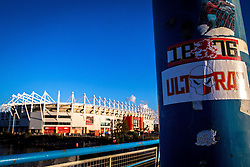 Ultra stickers on a lamp post outside The Riverside Stadium, home to Middlesbrough - Mandatory by-line: Robbie Stephenson/JMP - 16/10/2016 - FOOTBALL - Riverside Stadium - Middlesbrough, England - Middlesbrough v Watford - Premier League