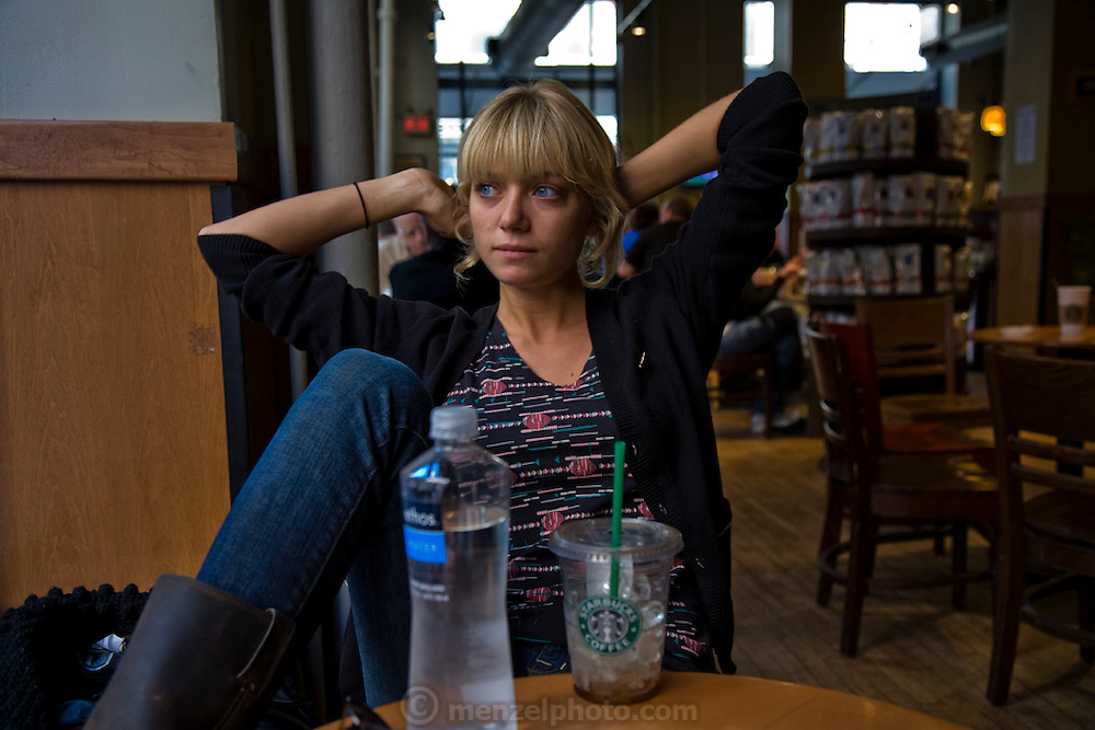Mariel Booth at Starbucks in New York City. (Mariel Booth is featured in the book What I Eat: Around the World in 80 Diets.) MODEL RELEASED.