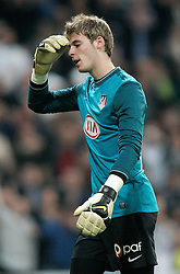 MADRID, SPAIN - Sunday, March 28, 2010: Club Atletico de Madrid's goalkeeper David de Gea looks dejected as his side lose to Real Madrid Club de Futbol during the La Liga Primera Division Madrid Derby match at the Estadio Santiago Bernabeu. (Pic by Hoch Zwei/Sprimont Press/Propaganda)