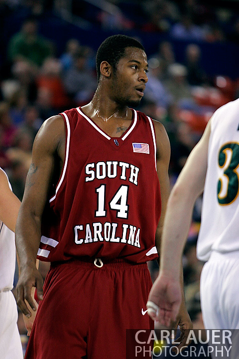 24 November 2005: Senior Forward Antoine Tisby (14) of South Carolina in the Gamecock's 65 - 60 victory over the University of Alaska Anchorage Seawolves in the first round of the Great Alaska Shootout at the Sullivan Arena in Anchorage Alaska.