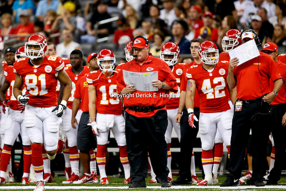 Aug 9, 2013; New Orleans, LA, USA; Kansas City Chiefs head coach Andy Reid during the first quarter of a preseason game against the New Orleans Saints at the Mercedes-Benz Superdome. Mandatory Credit: Derick E. Hingle-USA TODAY Sports