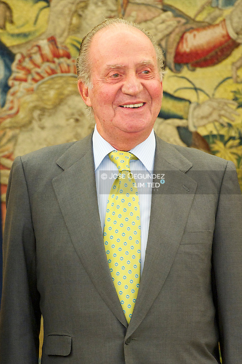 Spanish King Juan Carlos I attends an Audience to Mr. Anders Fogh Rasmussen, Secretary General of NATO at Palacio de la Zarzuela in Madrid