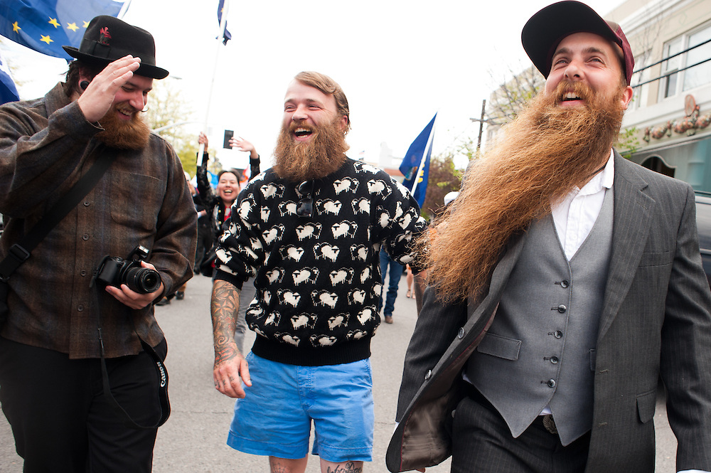 A parade before the National Beard and Mustache Championships in Bend, OR in 2010.