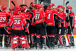 Players of Jesenice celebrate after winning during ice hockey match between HDD SIJ Acroni Jesenice and HK SZ Olimpija in 10th Round of AHL - Alps Hockey League 2017/18, on October 14, 2017 in Arena Podmezakla, Jesenice, Slovenia. Photo by Vid Ponikvar / Sportida