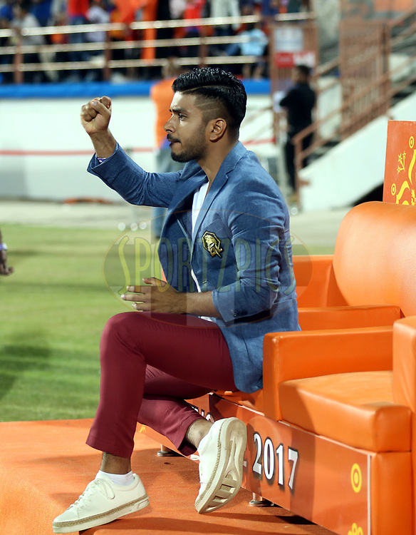 Keshav Bansal owner of Gujrat Lions during match 20 of the Vivo 2017 Indian Premier League between the Gujarat Lions and the Royal Challengers Bangalore  held at the Saurashtra Cricket Association Stadium in Rajkot, India on the 18th April 2017<br /> <br /> Photo by Sandeep Shetty - Sportzpics - IPL