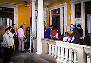 People cue to cast their vote during Bolivia's Presidential Election in La Paz. On Sunday, 12th October, President Evo Morales was re-elected for a third term by a majority of 60% and will turn into the longest serving President of the country if he finishes is mandate in 2020.