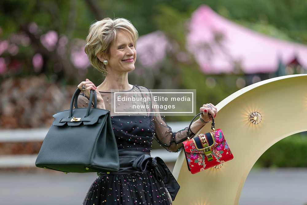 A hundred guests including celebrities, Christopher Biggins, Linda Robson and Bjorn Again take part in the Princes Trust fund-raising event, Lunch with an Old Bag.<br /> <br /> 2018 marks Scotland's Year of Young People and is Lunch with an Old Bag's 10th anniversary - last year the event raised over £700,000. The bags being auctioned this year include a £24,000 Hermes handbag<br /> <br /> Pictured: Fiona Donaldson, Chair of the Old Bag Committee with the Hermes handbag
