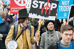 London, February 27th 2016. A man in Victorian dress marches along Park Lane during CND's march and rally opposing the UK's Trident nuclear weapons programme. <br /> &copy;Paul Davey<br /> FOR LICENCING CONTACT: Paul Davey +44 (0) 7966 016 296 paul@pauldaveycreative.co.uk