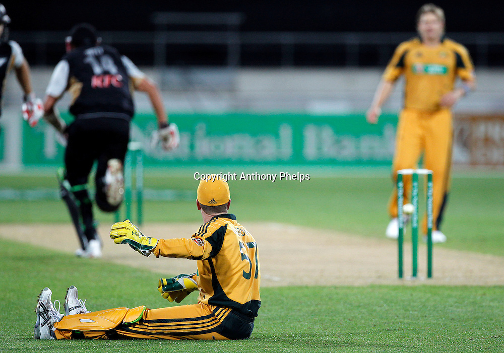 Haddin runs out Daniel Vettori New Zealand v Australia Twenty20 cricket match. Westpac Stadium, Wellington. Friday 26 February 2010. Photo: Anthony Phelps/PHOTOSPORT