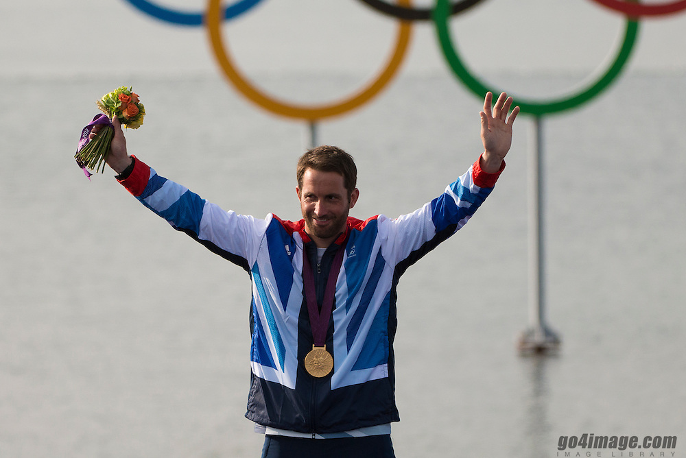 2012 Olympic Games London / Weymouth<br /> Medal Ceremony Ben Ainslie Winner of the Gold Medal