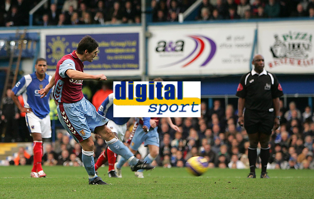 Photo: Lee Earle.<br /> Portsmouth v Aston Villa. The Barclays Premiership. 02/12/2006. Villa captain Gareth Barry scores the opening goal from the penalty spot.