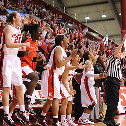 Jan 31, 2009; Piscataway, NJ, USA; The Rutgers bench reacts to the game-tying three pointer by guard Brittany Ray(not pictured) during the last minute of South Florida's 59-56 victory over Rutgers in NCAA women's college basketball at the Louis Brown Athletic Center