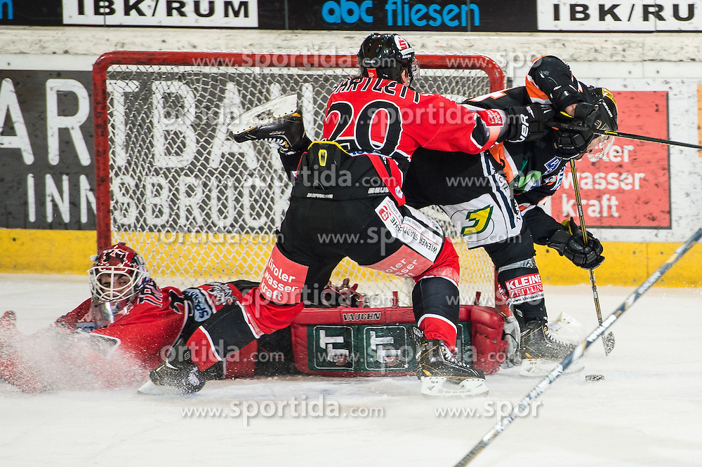 18.01.2013, Tiroler Wasserkraft Arena, Innsbruck, AUT, EBEL, HC TWK Innsbruck vs Graz 99ers, 43. Runde, im Bild Thomas Tragust, (HC ,TWK Innsbruck, # 34) Mike Bartlett, (HC TWK Innsbruck, # 20), Olivier Latendresse, (Graz 99ers, #44) // during the Erste Bank Icehockey League first Round match betweeen HC TWK Innsbruck and Graz 99ers at the Tiroler Wasserkraft Arena, Innsbruck, Austria on 2013/01/18. EXPA Pictures © 2013, PhotoCredit: EXPA/ Eric Fahrner