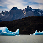 Icebergs in Lago Grey in the Torres del Paine national Park, Patagonia, Chile.