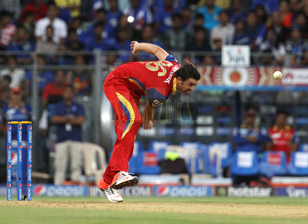 Royal Challengers Bangalore player David Wiese bowls during match 46 of the Pepsi IPL 2015 (Indian Premier League) between The Mumbai Indians and The Royal Challengers Bangalore held at the Wankhede Stadium in Mumbai, India on the 10th May 2015.<br /> <br /> Photo by:  Vipin Pawar / SPORTZPICS / IPL