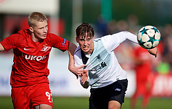 MOSCOW, RUSSIA - Tuesday, September 26, 2017: Liverpool's Liam Miller and Spartak Moscow's Nikolai Rasskazov during the UEFA Youth League Group E match between Liverpool and Spartak Moscow FC at the Spartak Academy. (Pic by David Rawcliffe/Propaganda)