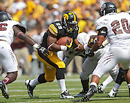 September 07 2013: Iowa Hawkeyes running back LeShun Daniels (29) looks running room during the third quarter of the NCAA football game between the Missouri State Bears and the Iowa Hawkeyes at Kinnick Stadium in Iowa City, Iowa on September 7, 2013. Iowa defeated Missouri State 28-14.
