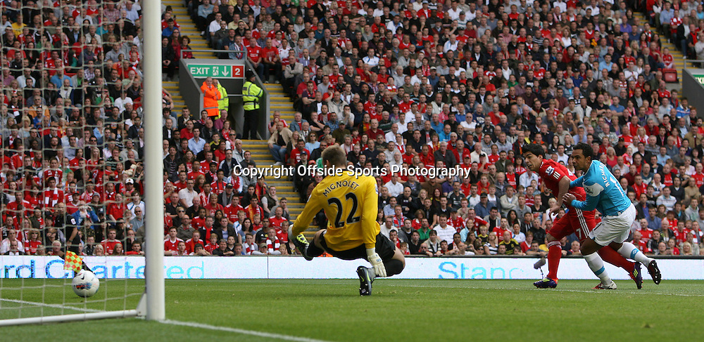 13/08/2011 - Barclays Premier League - Liverpool vs. Sunderland - Luis Suarez of Liverpool scores their 1st goal - Photo: Simon Stacpoole / Offside.