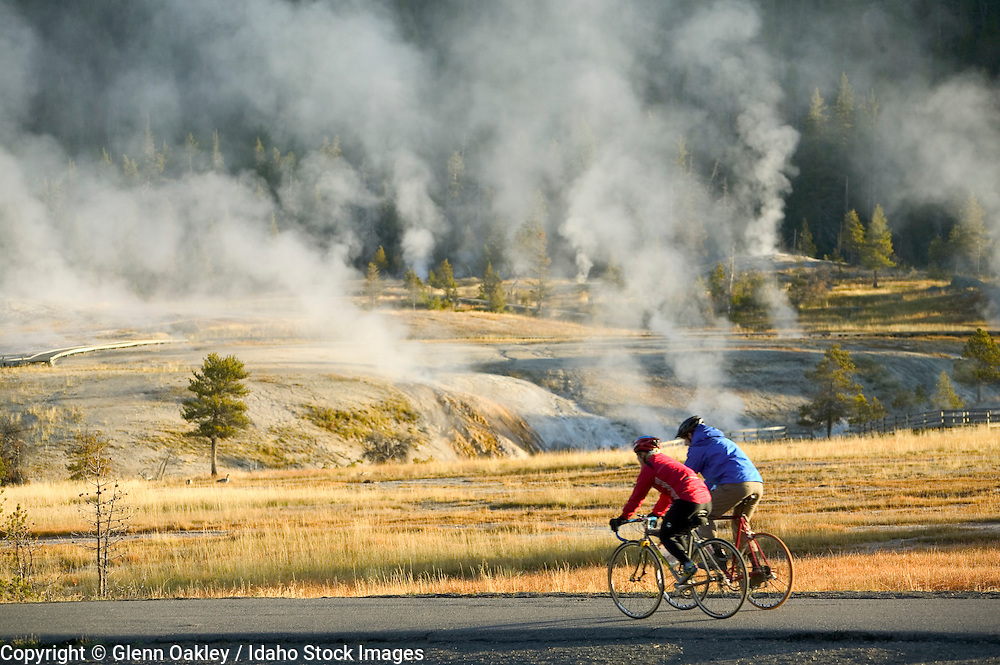 Mountain biking along geothermal hotspots in Yellowstone National Park