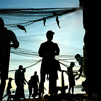Fishermen remove catch from their nets on the shores of Arugam Bay, Sri Lanka