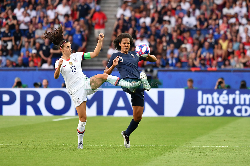 June 28, 2019 - Paris, ile de france, France - Wendie RENARD (FRA) and Alex MORGAN (USA) in action during the first period of the quarter-final between FRANCE vs USA in the 2019 women's football World cup at Parc des Princes in Paris, on the 28 June 2019. (Credit Image: © Julien Mattia/NurPhoto via ZUMA Press)