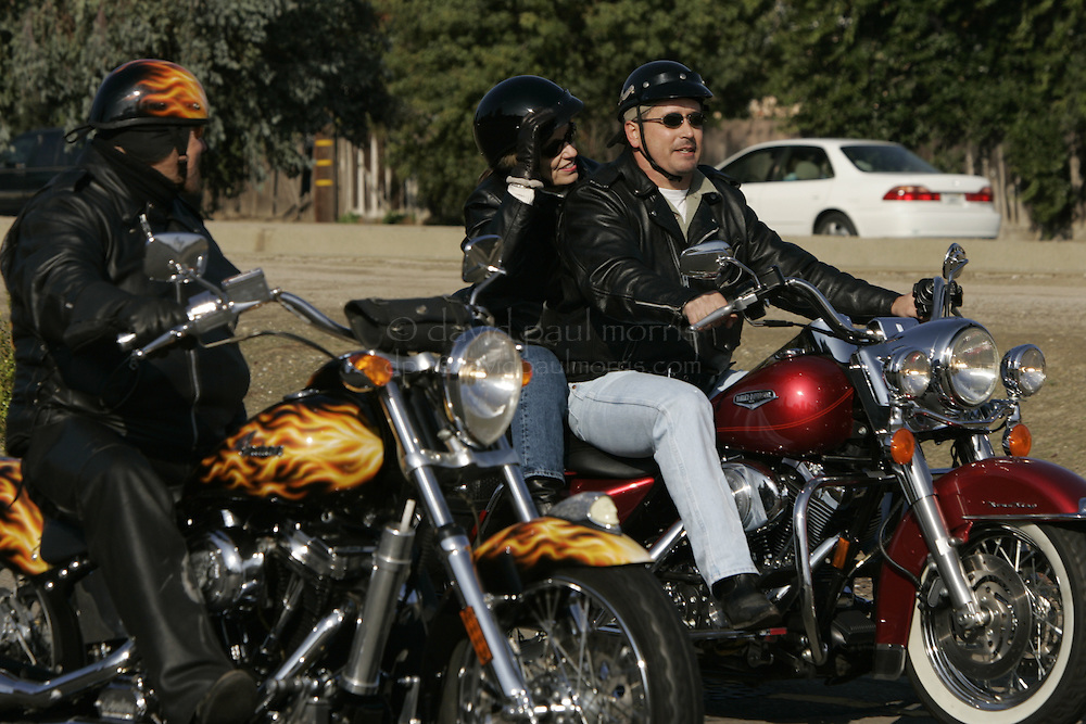 Modesto, CA - NOVEMBER 20:  Sharon Rocha, Laci Peterson's mother and Laci's cousin Shawn Rocha ride with Mickey Jones (L) in the second annual Laci Peterson memorial ride in Modesto, California. Over 2,000 people took part in the ride on Saturday November 20, 2004. Laci was murdered along with her unborn son, Conner in December 2002 by her husband Scott Peterson who was found guilty of  first degree of murder by a San Mateo, California jury on November 12, 2004 and could face the death penalty. Photograph by David Paul Morris