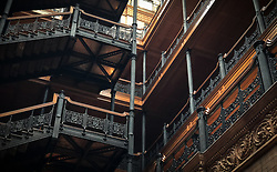 Detail of the interior of the Bradbury Building, located in downtown Los Angeles. The Bradbury, built in 1893, is the oldest commercial building remaining in the central city. The five-story office building is known for its skylit atrium and ornate ironwork. The building has been the location for many movies and television shoots.