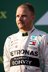 March 17, 2019 - Albert Park, VIC, U.S. - ALBERT PARK, VIC - MARCH 17: Valtteri Bottas on the podium at The Australian Formula One Grand Prix on March 17, 2019, at The Melbourne Grand Prix Circuit in Albert Park, Australia. (Photo by Speed Media/Icon Sportswire) (Credit Image: © Steven Markham/Icon SMI via ZUMA Press)