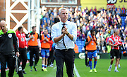 Alan Pardew appluads the home support after the Barclays Premier League match between Crystal Palace and Manchester City at Selhurst Park, London, England on 12 September 2015. Photo by Michael Hulf.