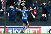 Charlton Athletic striker Josh Magennis (9) scores a goal and celebrates 0-2 during the EFL Sky Bet League 1 match between Milton Keynes Dons and Charlton Athletic at stadium:mk, Milton Keynes, England on 17 February 2018. Picture by Dennis Goodwin.