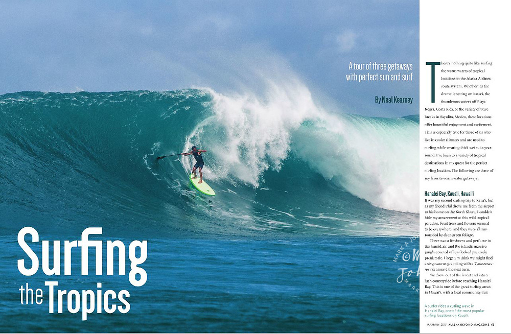 Alaska Airlines Beyond inflight magazine. A double page spread of Terry Chung Stand Up Paddle Surfing at Hanalei Bay, Kauai, Hawaii
