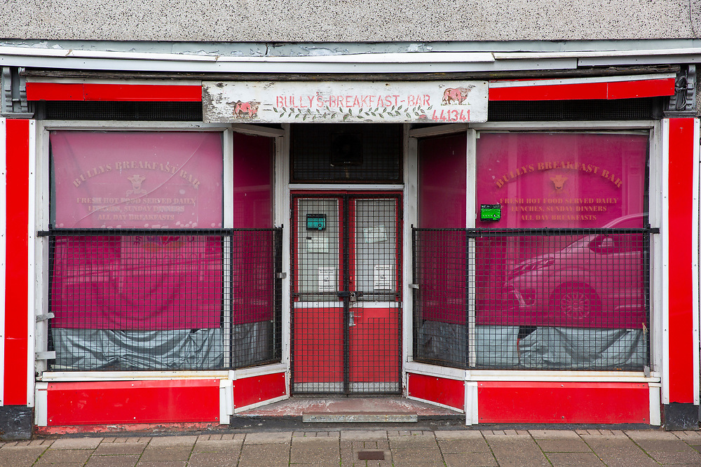 Metal security grills protect the window and door of closed down Bully's Breakfast Bar in Pentre village, Rhondda Valley, South Wales, UK.  (photo by Andrew Aitchison / In pictures via Getty Images)