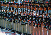 Gurkhas standing to attention, Hong Kong