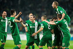 Players of NK Olimpija Ljubljana celebrate after scoring 1st goal for Olimpija during football match between NK Olimpija Ljubljana and NK Maribor in 33rd Round of Prva liga Telekom Slovenije 2015/16, on May 7, 2016, in SRC Stozice, Ljubljana, Slovenia. Photo by Vid Ponikvar / Sportida