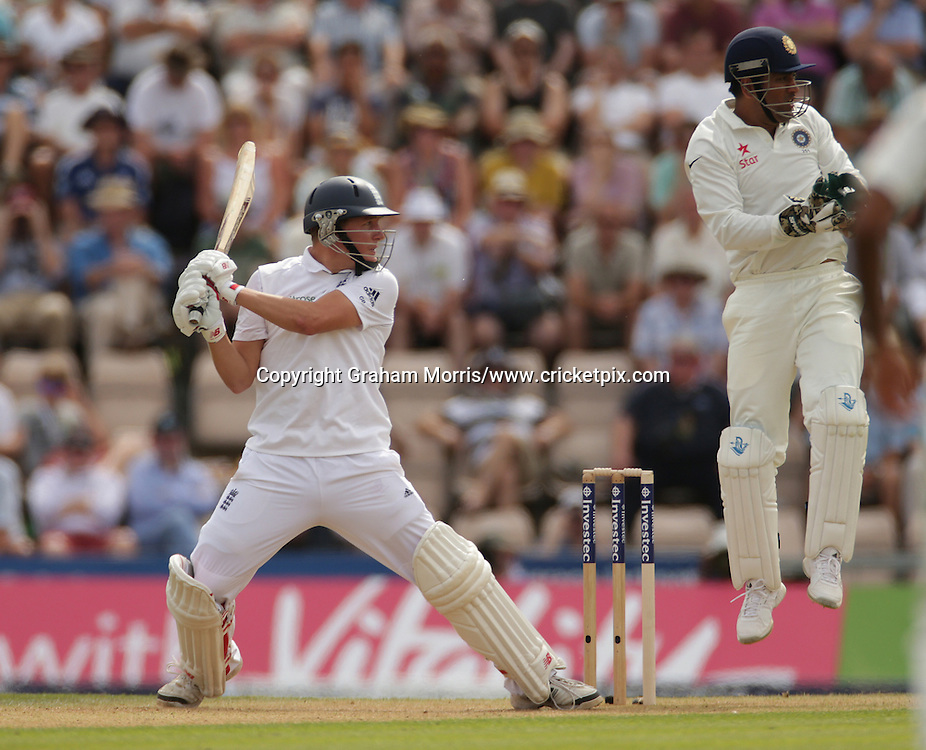 Gary Ballance bats during the third Investec Test Match between England and India at the Ageas Bowl, Southampton. Photo: Graham Morris/www.cricketpix.com (Tel: +44 (0)20 8969 4192; Email: graham@cricketpix.com) 27/07/14