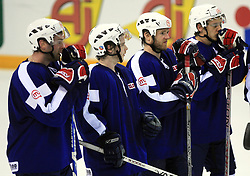 Tomaz Razingar, Rok Pajic, Dejan Varl and Boris Pretnar dissapoined after ice-hockey match Slovenia vs Latvia at Preliminary Round (group B) of IIHF WC 2008 in Halifax, on May 06, 2008 in Metro Center, Halifax, Nova Scotia, Canada. Latvia won 3:0. (Photo by Vid Ponikvar / Sportal Images)Slovenia played in old replika jerseys from the year 1966, when Yugoslavia hosted the World Championship in Ljubljana.