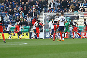 Queens Park Rangers striker Sebastian Polter (33) scores to make it 1-0 QPR during the Sky Bet Championship match between Preston North End and Queens Park Rangers at Deepdale, Preston, England on 19 March 2016. Photo by Pete Burns.