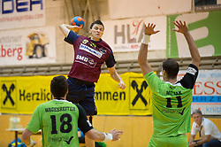 09.12.2014, Sporthalle, Leoben, AUT, OeHB-Cup Achtelfinale, Union JURI Leoben vs SG INSIGNIS Handball West Wien, im Bild Markus Wagesreiter (West Wien), Sasa Barisic Jaman (Leoben), Duje Miljak (West Wien) // durning the OeHB-Cup, Round of the last sixteen, between, Union JURI Leoben vs SG INSIGNIS Handball West Wien at the Sport Hall, Leoben, Austria on 2014/12/09, EXPA Pictures © 2014, PhotoCredit: EXPA/ Dominik Angerer