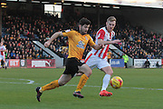 Piero Mingoia and Kyle Storer during the EFL Sky Bet League 2 match between Cambridge United and Cheltenham Town at the R Costings Abbey Stadium, Cambridge, England on 26 November 2016. Photo by Antony Thompson.