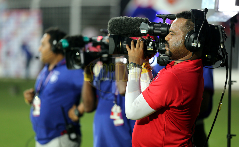 Camera crew during match 25 of the Indian Super League (ISL) season 2  between FC Goa and FC Pune City held at the Jawaharlal Nehru Stadium, Fatorda, Goa, India on the 30th October 2015.<br /> <br /> Photo by Sandeep Shetty / ISL/ SPORTZPICS