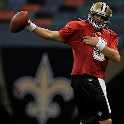 24 August 2009: New Orleans Saints quarterback Drew Brees (9) stretches during New Orleans Saints training camp practice at the Louisiana Superdome in New Orleans, Louisiana.