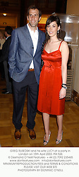 GREG RUSEDSKI and his wife LUCY at a party in London on 15th April 2003. 	PIX 526