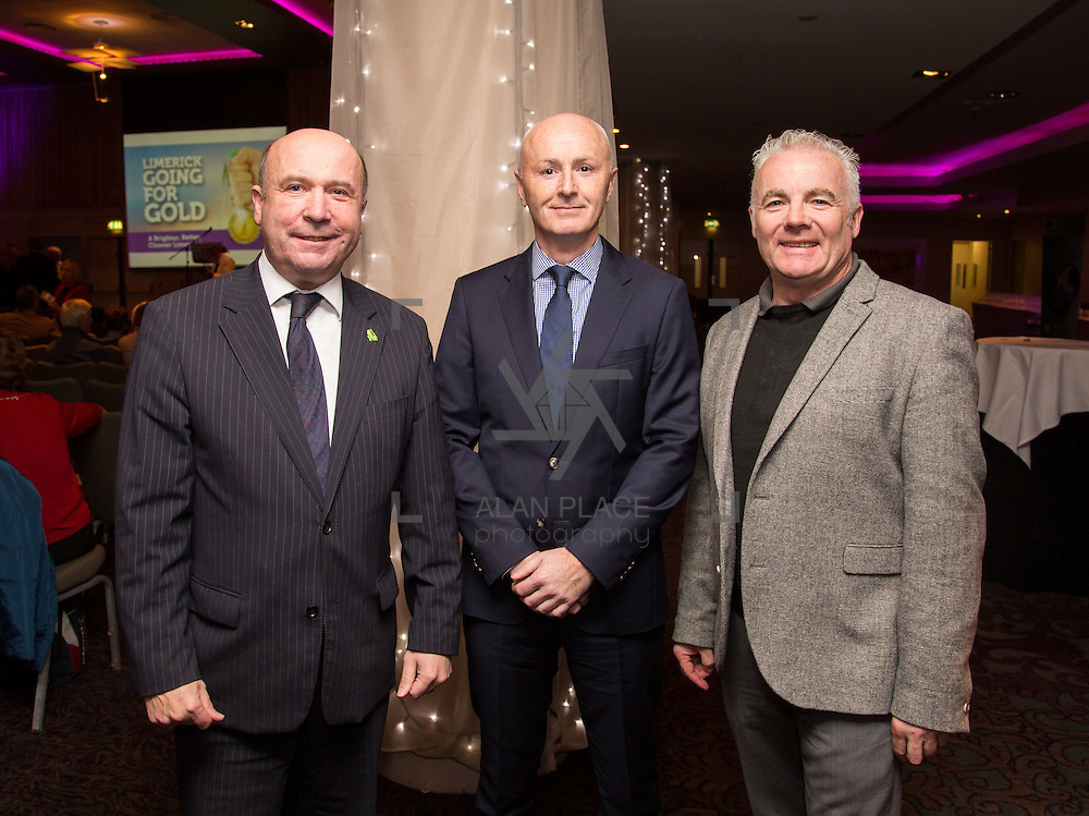 11.10.2016         <br /> Pictured at the Grand Final of the Limerick Going for Gold 2016 Awards were, Cllr. Bill O'Donnell, Cllr. Seamus Browne and Cllr. John Costello. Picture: Alan Place