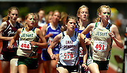 05/23/2009 - Jesuit's Annamarie Maag (491) gets the inside line on Lake Oswego's Tate Murray (579) with Jesuit's Payton Schutte (494) nearby during the 6A Girl's 1500 Meter Run.  The 2009 OSAA/U.S. Bank/Les Schwab Tires 6A-5A-4A Track and Field State Championships were run at Hayward Field in Eugene, Oregon.....KEYWORDS:  City, Portland, sports, Oregon, high school, OSAA, boys, girls, PIL, run, University, team