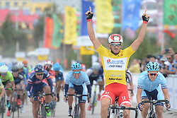 September 9, 2016 - Fengning, China - Italian Marco Benfatto from Androni-Giocattoli Team wins the second stage, 157.8 km Weichang-Fengning, of the 2016 Tour of China 1..The second stage of the Tour of China starts in Yudaokou, in Weichang county, located at the far northeastern Hebei province. The area has been historically home to Manchu soldiers. .The stage finishes in Fengning county, in front of Great Khan palace on north grassland of the country..On Saturday, 9 September 2016, in Fengning, China. (Credit Image: © Artur Widak/NurPhoto via ZUMA Press)