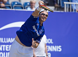 LIVERPOOL, ENGLAND - Saturday, June 22, 2019: Robert Kendrick (USA), wearing a full Everton Football Club kit, during Day Three of the Liverpool International Tennis Tournament 2019 at the Liverpool Cricket Club. (Pic by David Rawcliffe/Propaganda)